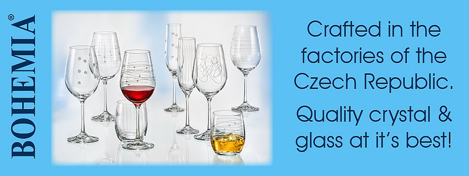 Crafted in the factories of the Czech Republic. Quality crystal and glass at it's best!